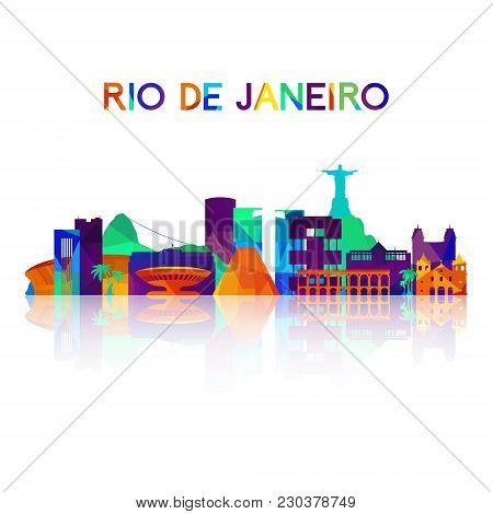 Rio De Janeiro Skyline Silhouette In Colorful Geometric Style. Symbol For Your Design. Vector Illust