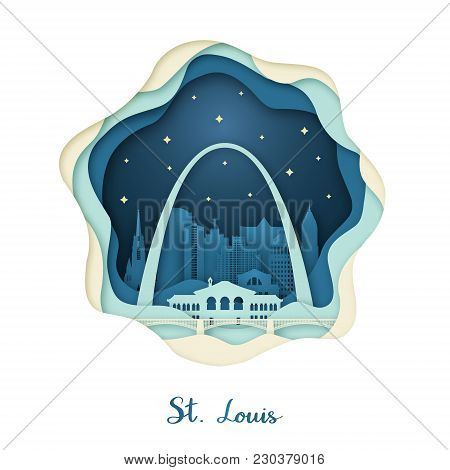 Paper Art Of St. Louis. Origami Concept. Night City With Stars. Vector Illustration.