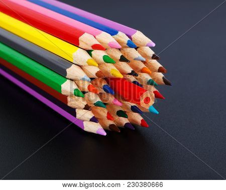 Concept With Colored Pencils - Opposition To The Majority