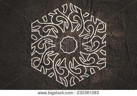 Mosaic Arabic Ornament. Outline Hexagon Emblem. Retro Ornamental Design.