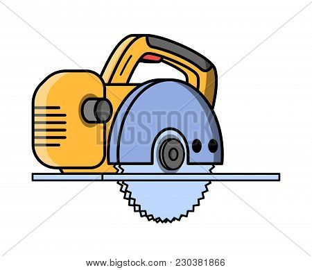 Circular Saw Construction Electric Tool. Flat Style Icon Of Circular Saw. Vector Illustration.