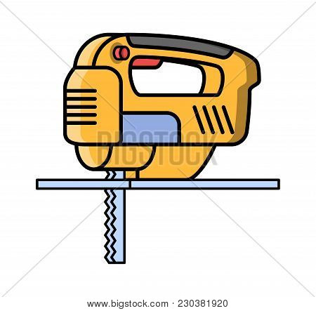Jigsaw Construction Electric Tool. Flat Style Icon Of Jigsaw. Vector Illustration.