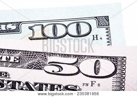 100 And 50 Dollars Banknote Bills Isolated On White Background. Stacked Macro Photo. High Resolution