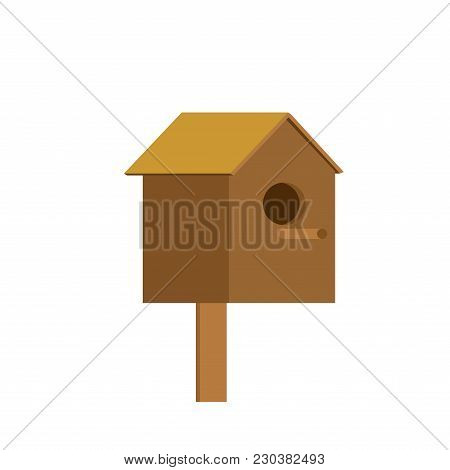 Starling House Is Isolated. House For Birds. Vector Illustration