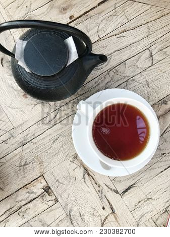 Cup Of Black Tea Color Image Stock Photos