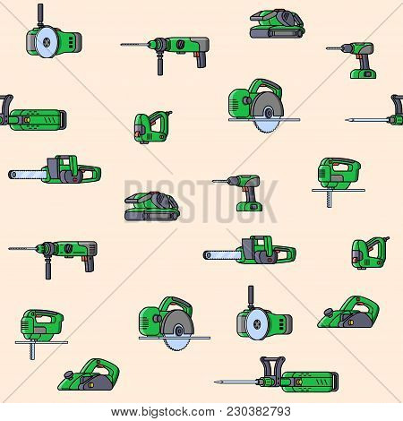 Seamless Pattern Of Electric Construction Tools. Flat Style Seamless Background Of Professional Buil
