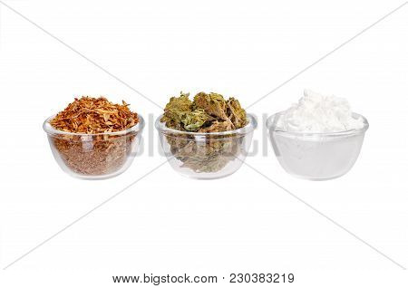 Three Plates With Modern Drug On A White Background. High Resolution Photo.