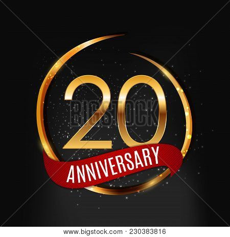 Template Gold Logo 20 Years Anniversary With Red Ribbon Vector Illustration Eps10