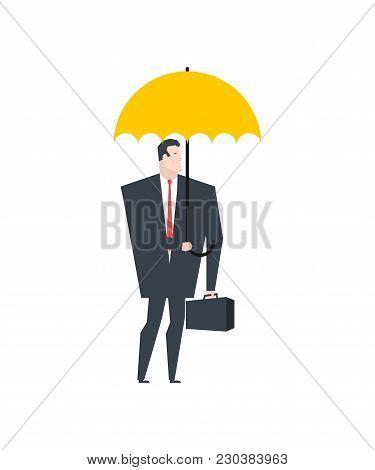Businessman Under Umbrella. Boss Insurance. Office Life Vector Illustration.