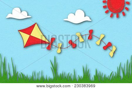 Colored Kite Flies On Background Of Spring Sunny Meadow. Green Grass Against Sky. Idyllic Cartoonish
