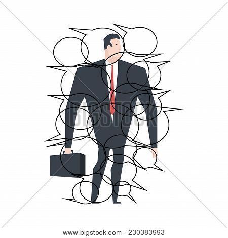 Businessman Speaking. Bubble For Text Communication. Boss Answers Questions. Office Life Vector Illu