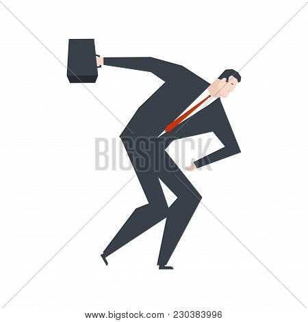 Businessman Discoboling. Boss Thrower Disk. Office Life Vector Illustration.