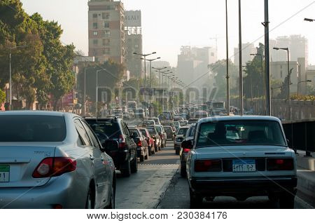 Cairo, Egypt, November 24 ,2010 : Traffic and transportation in Cairo early morning