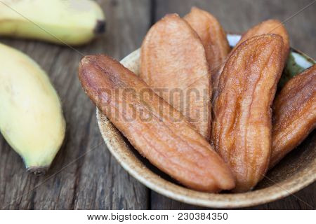 Dried Bananas ,dried Fruit, Dried Sweet, Close Up Shot On Wooden Background