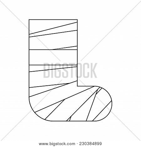 Leg In Gypsum Isolated. Medical Device. Vector Illustration