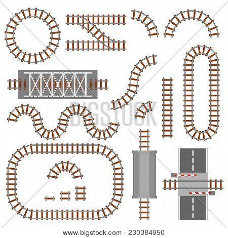 Set Of Railway Parts, Rail Or Railroad Top View. Different Train Constructions Elements. Train Trans