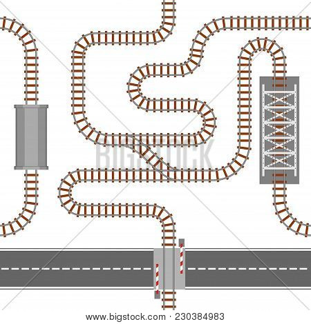 Railway Seamless Pattern, Rail Or Railroad Top View. Train Transportation Track Made Of Steel And Wo
