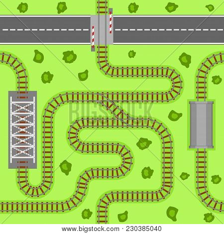 Railway Seamless Pattern, Rail Or Railroad Top View On The Green Grass. Train Transportation Track M
