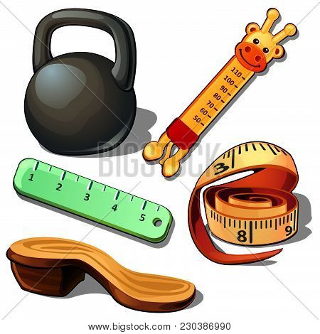 Means Of Measuring Length And Temperature. The Sole Of The Shoe And Weight. Vector Illustration.