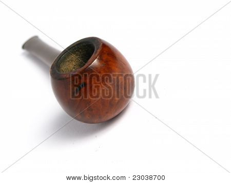 Elegant wood Pipe on white background