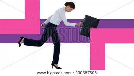 Digital composite of Businesswoman holding briefcase with minimal shapes