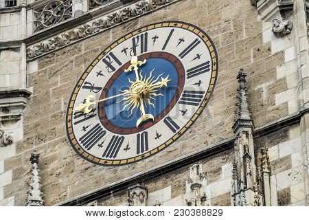 Marienplatz City Hall Tower Clock In Munich Close-up