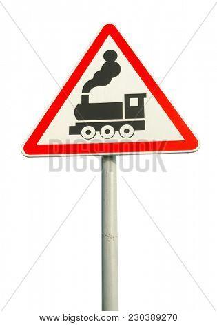 Railroad crossing on white
