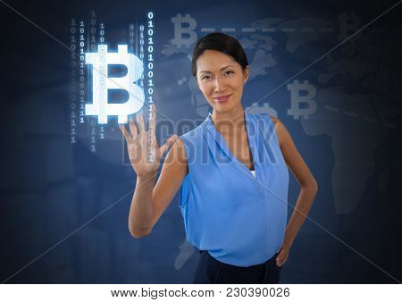 Digital composite of Businesswoman touching bit coin graphic icon