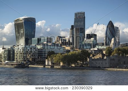 Landscape Of City Of London On Summer Day With Blue Sky