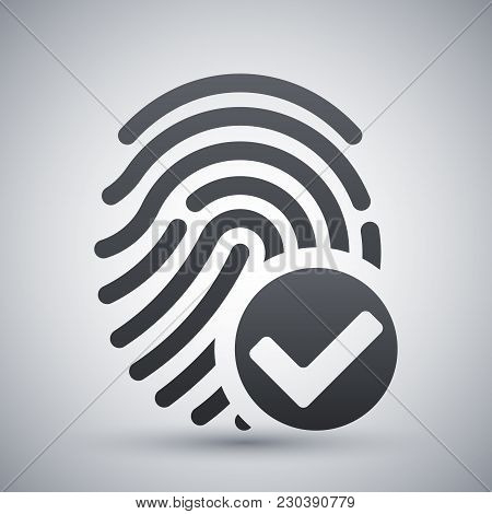 Vector Fingerprint Accepted Icon On A Light Gray Background