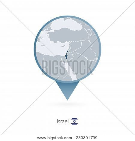 Map Pin With Detailed Map Of Israel And Neighboring Countries.