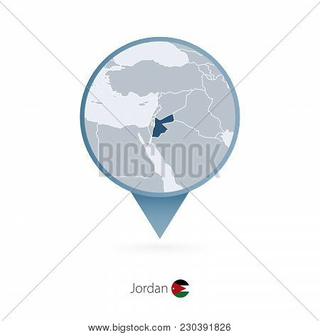 Map Pin With Detailed Map Of Jordan And Neighboring Countries.