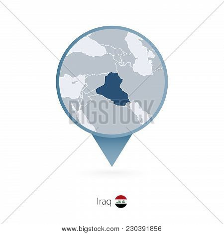 Map Pin With Detailed Map Of Iraq And Neighboring Countries.