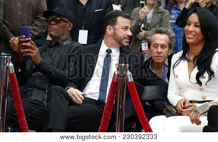 Samuel L. Jackson, Lisa Parigi, Jimmy Kimmel and Brian Grazer at Lionel Richie Hand And Footprint Ceremony held at the TCL Chinese Theatre in Hollywood, USA on March 7, 2018.