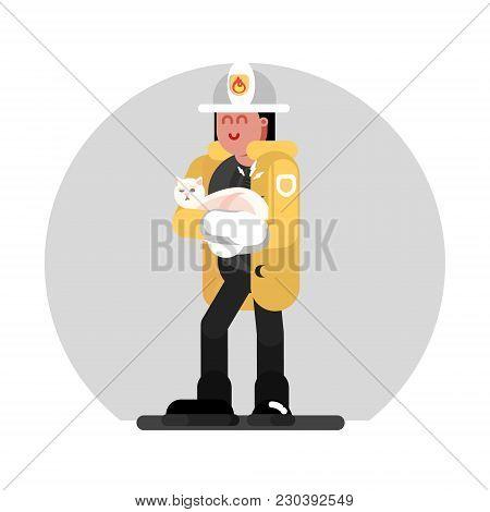 Fireman Girl Saves The Cat. Vector Illustration, Eps 10