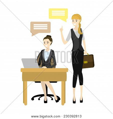 Top Manager And Worker Vector Illustration. Smiling Cartoon Character Doing The Office Job Under Con