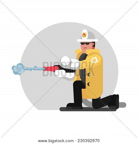 Fireman Sat Down And Extinguishes The Fire. Vector Illustration, Eps 10