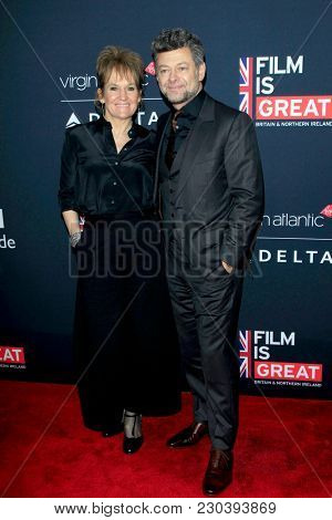 LOS ANGELES - MAR 2:  Lorraine Ashbourne, Andy Serkis at the Film Is GREAT Reception Honoring British Oscar Nominees at the British Residence on March 2, 2018 in Los Angeles, CA