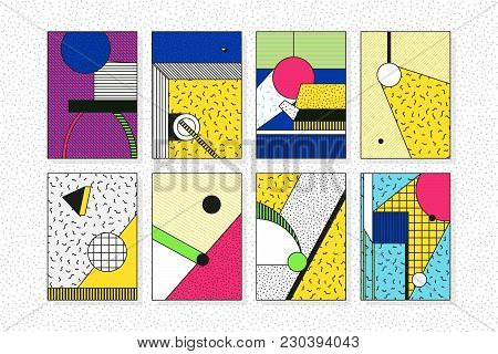Colorful Trend 90s 80s Style Geometric Pattern Set Juxtaposed With Bright Bold Blocks Of Color Zig Z