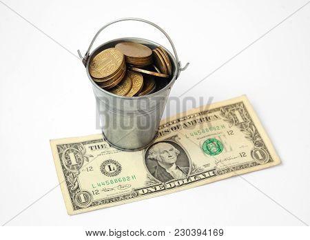 Bucket Of Ukrainian Hryvnias Iron Coins Worth On Paper Kyupyure One Us Dollar. Dollar Exchange Rate