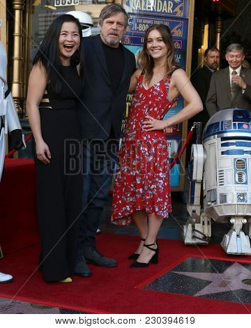 LOS ANGELES - MAR 8:  Kelly Marie Tran, Mark Hamill, Billie Lourd at the Mark Hamill Star Ceremony on the Hollywood Walk of Fame on March 8, 2018 in Los Angeles, CA
