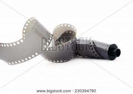 Reel Of Old Vintage Photo Film On White Background Close Up