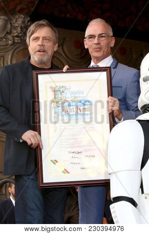 LOS ANGELES - MAR 8:  Mark Hamill, Mitch OFarrell at the Mark Hamill Star Ceremony on the Hollywood Walk of Fame on March 8, 2018 in Los Angeles, CA