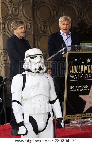 LOS ANGELES - MAR 8:  Mark Hamill, Harrison Ford at the Mark Hamill Star Ceremony on the Hollywood Walk of Fame on March 8, 2018 in Los Angeles, CA