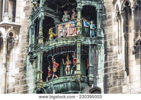 The Historic Glockenspiel At Marienplatz, Munich, Germany - Europe