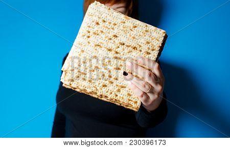 Traditional Festive Jewish Food Matza. Traditional Family Holiday Pesach.