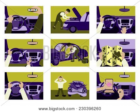 Set Of Illustrations Car From Inside Fashion, Car, Design, Person,