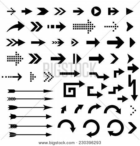Black Arrows. Collection Of Silhouette Flat Icons. Vector Illustration Isolated On White Background