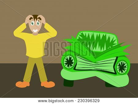 Worried Driver With His Breakdown Car Vector Illustration. Flat Concept Design On Man Standing Text