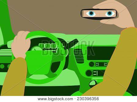 The Driver In The Car Looks In The Rear-view Mirror.vector Illustration Of Car Inside. Driver Place